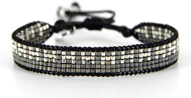 Belle Mais Pas Que Pulsera de cordón Black Rock Silver, perla Miyuki, negro 5