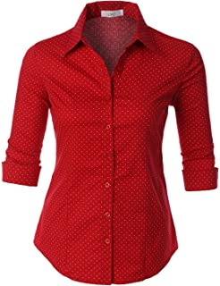 7dfc3fc067e4 LE3NO Womens Lightweight Fitted Short Sleeve Button Down Shirt at ...