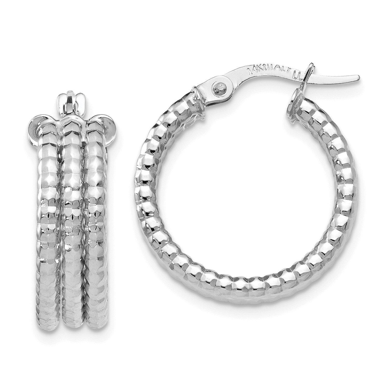 Roy Rose Jewelry Leslie's 14K White Gold Hoop Earrings ~ 19mm width