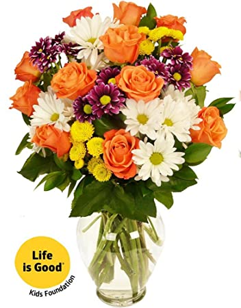 Amazon Benchmark Bouquets Life Is Good Flowers Orange With
