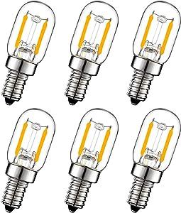 Attaljus E12 LED Bulb, 2W Night Light Bulbs 150lm Salt lamp Bulb, 15W Incandescent Equivalent, E12 Candelabra Base Appliance LED Bulb, T7 Refrigerator Bulb, 3000K Warm White, 6PCS