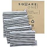 SquareOne 4PC Reusable Bag Set - Reusable Sandwich Bags - Reusable Snack Bags - 2 Snack Size Bags / 2 Large Sandwich…