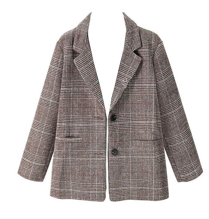 Wenchuang Abrigo Mujer Corto Blazer Chaqueta Cuadros ...