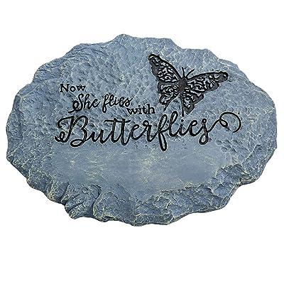 Fox Valley Traders Butterfly Memorial Stone, Remembrance Garden Stone, Gray, 10-Inch : Garden & Outdoor