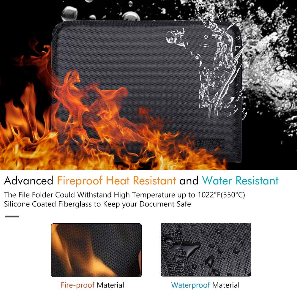 Fireproof Padfolio Portfolio Business File Folder with Zippered Pockets Fire and Water Resistant Executive Writing Pad,Personal Document Organizer Folder,Planners, Briefcase for Travel