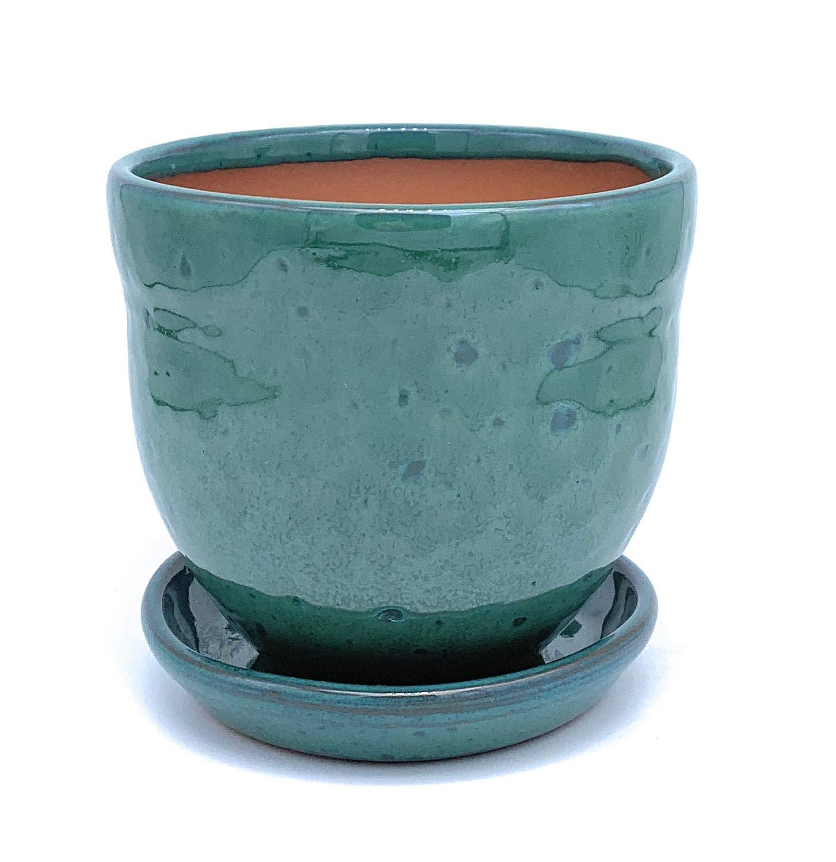 Succulent Cacti Cactus Glazed Ceramic Plant Pot with Saucer Terracotta Plant Pots with Drip Tray Flower Pot Gala Blue 11cm x10cm