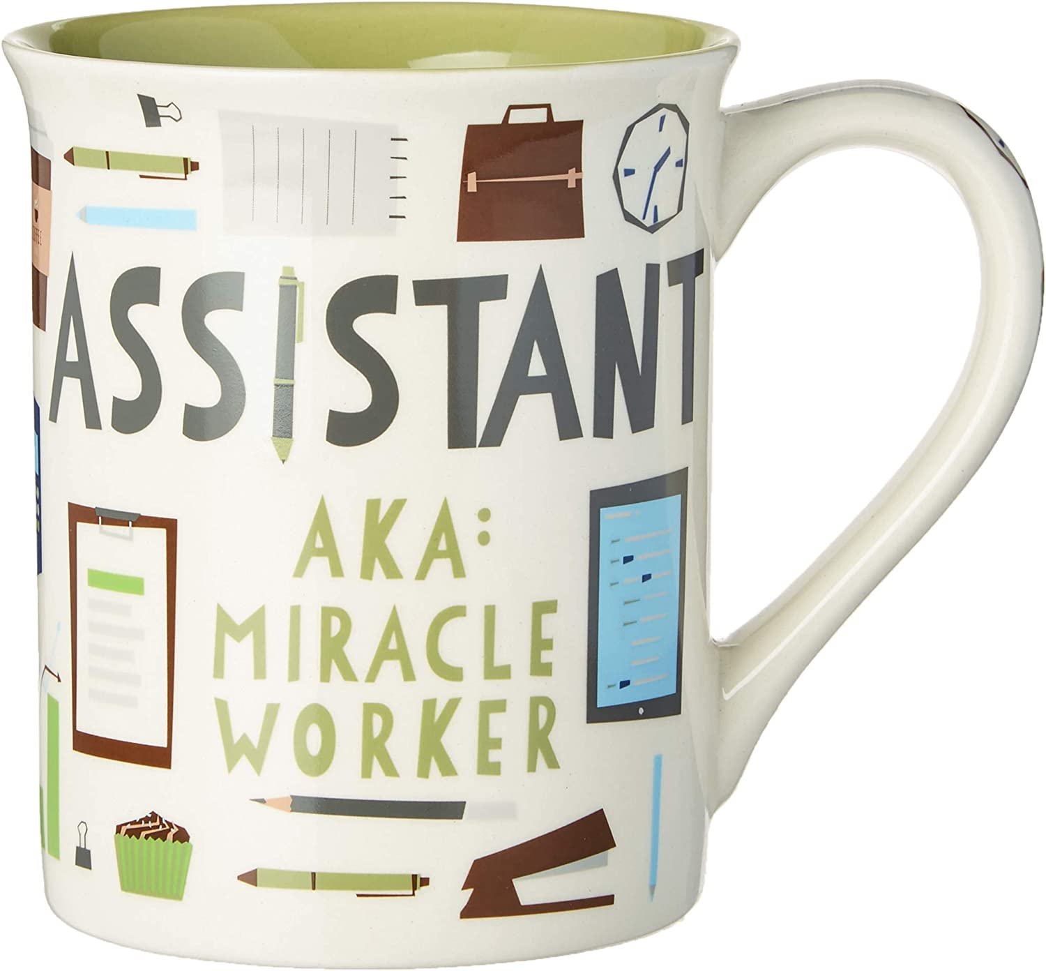 "Enesco Our Name is Mud ""Assistant Miracle Worker"" Patte, 16 oz. Stoneware Mug, Multicolor"
