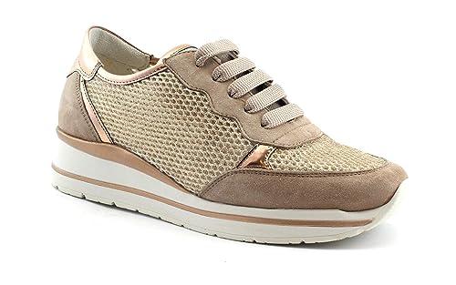 R20033 Lacci Scarpe Donna Rosa Cipria Sneakers Melluso Walk Rame wOkN8XZn0P