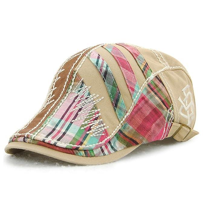 King Star Men Cotton Flat Cap Duckbill Hat Newsboy Ivy Irish Cabbie Scally  Caps Beige b91851d0df39