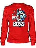 JINX Minecraft Big Boys' Like a Boss Long-Sleeve Premium Cotton T-Shirt