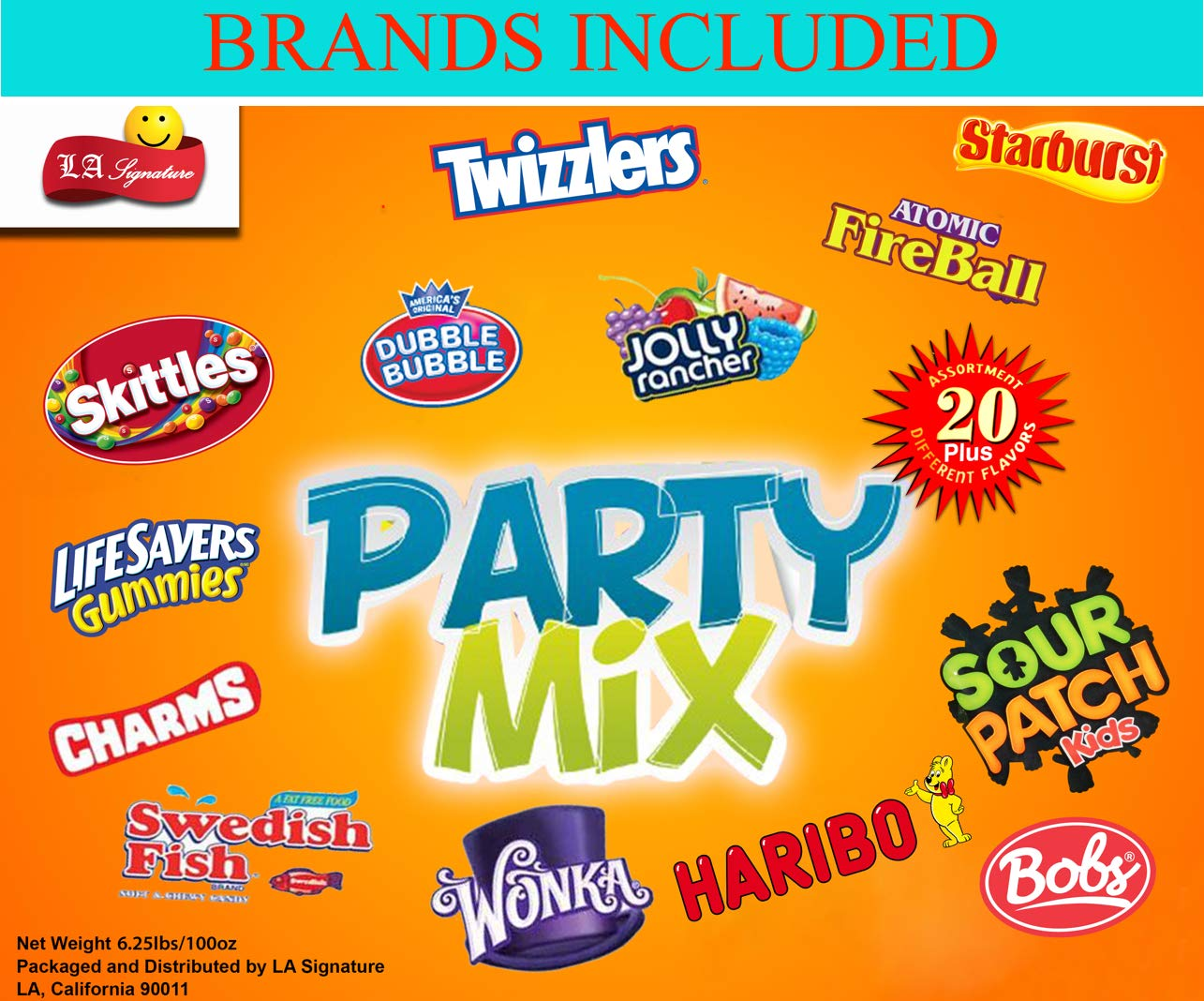 HUGE Assorted Candy PARTY MIX BOX 6.25 LBS/100 OZ Over 250 Individually Wrapped Candies like Skittles Lifesavers Haribo Starburst Fireballs Jolly Ranchers Sour Patch Dubble Bubble Swedish fish & MOR by LA Signature (Image #2)