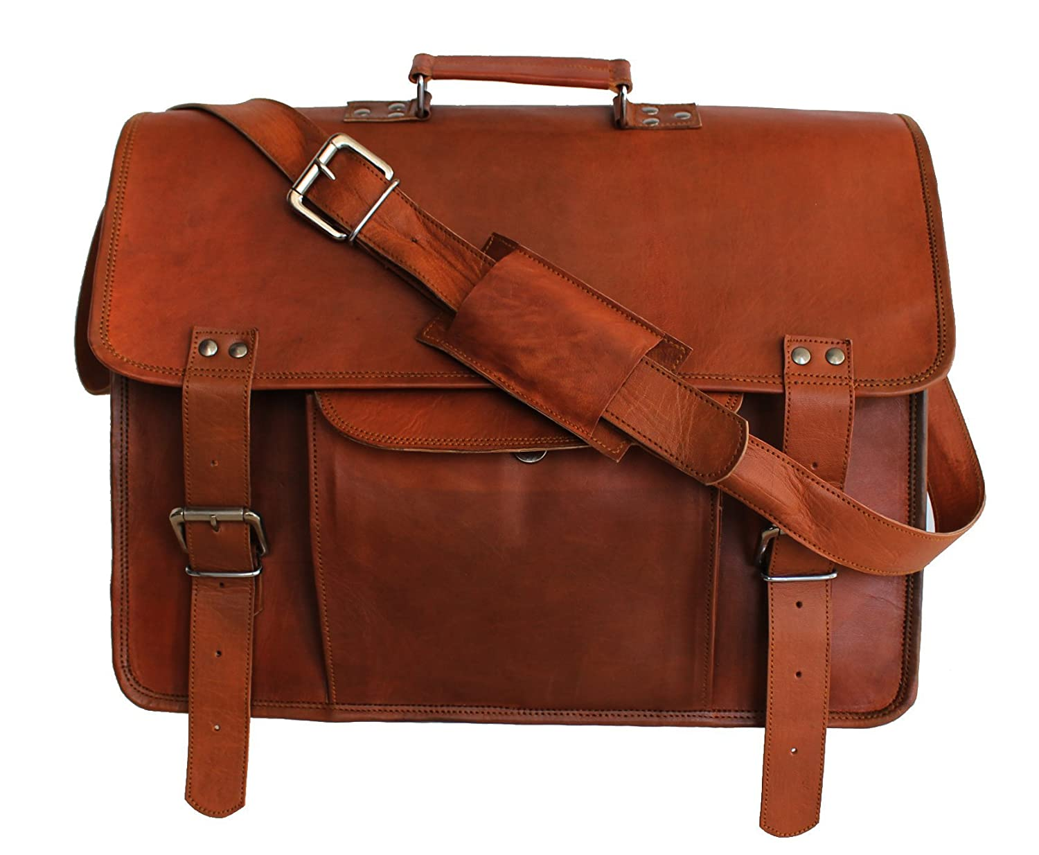hlc 18 Inch Leather Laptop Messenger Bag Office Briefcase College Bag Leather Bag for Men and Women