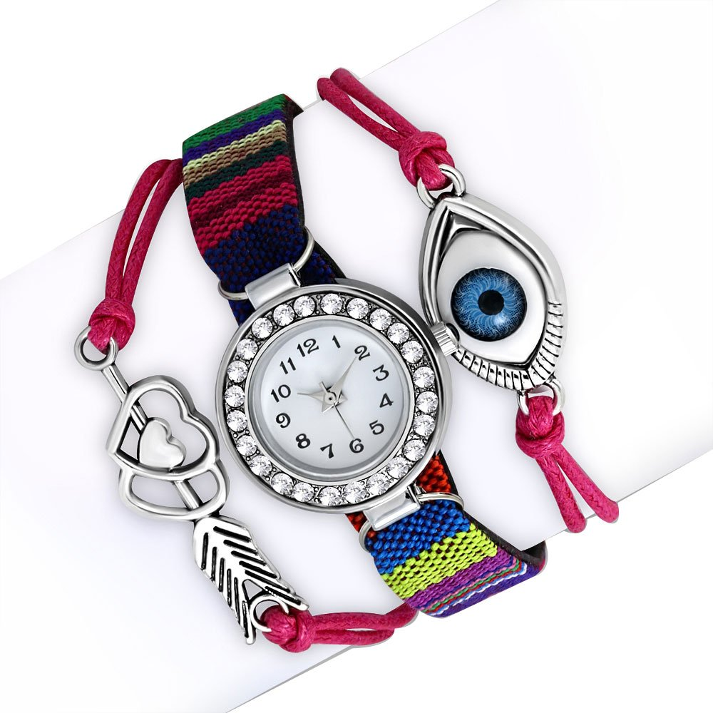 My Daily Styles Fashion Alloy Red Pink Multicolor White Clear CZ Evil Eye Watch, 8.5''
