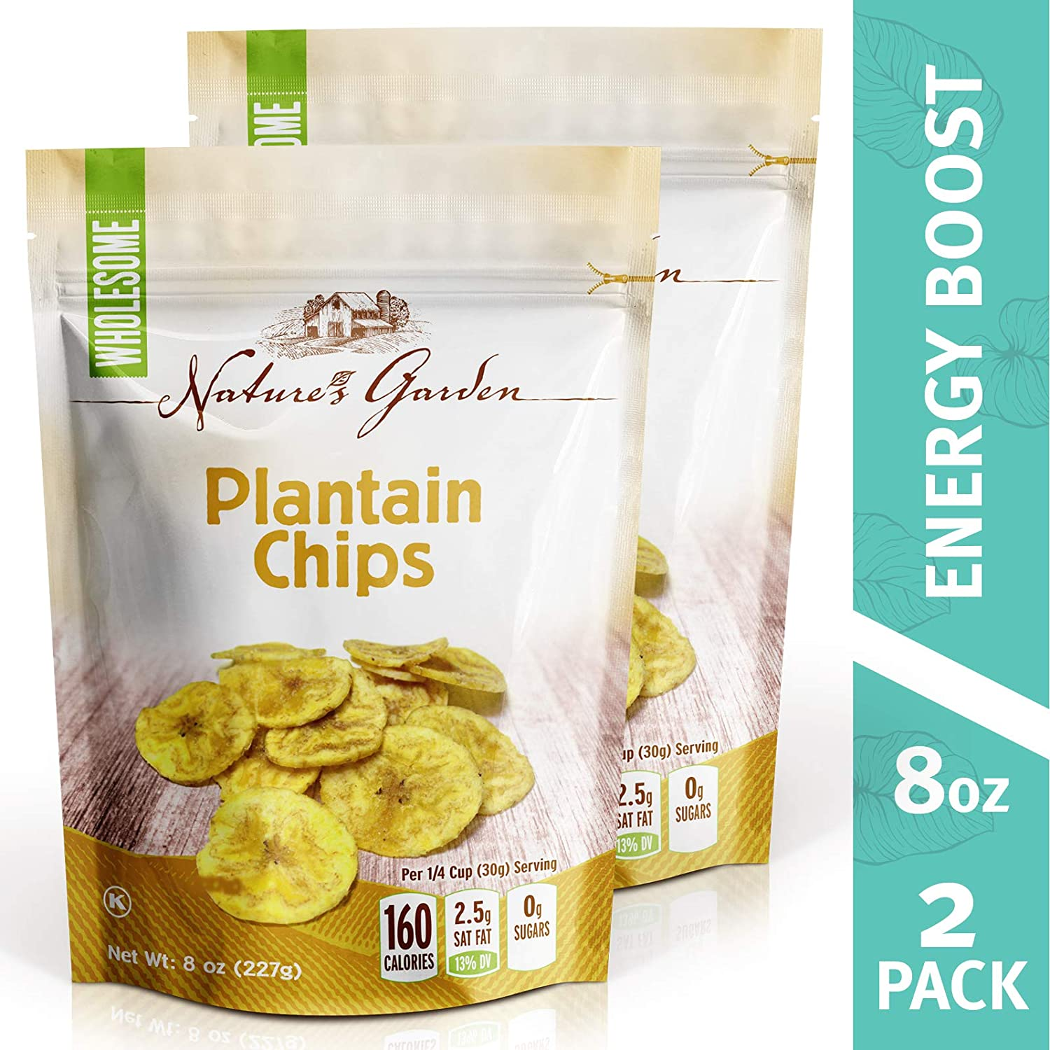 Nature's Garden Plantain Chips Sea Salted - 8oz. (Pack of 2)
