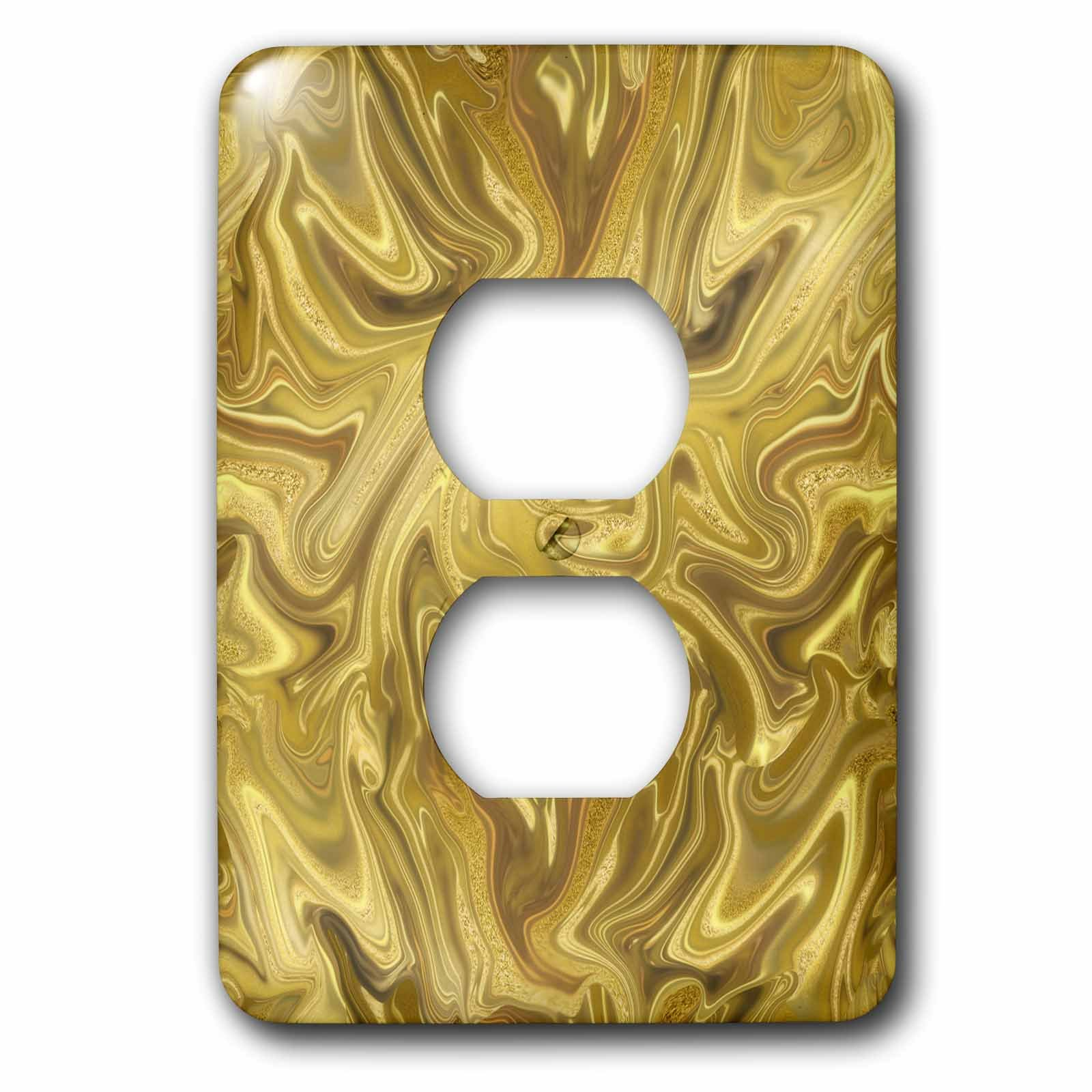 3dRose Andrea Haase Art Illustration - Liquid Gold And Glitter Luxury Surface - Light Switch Covers - 2 plug outlet cover (lsp_271140_6)