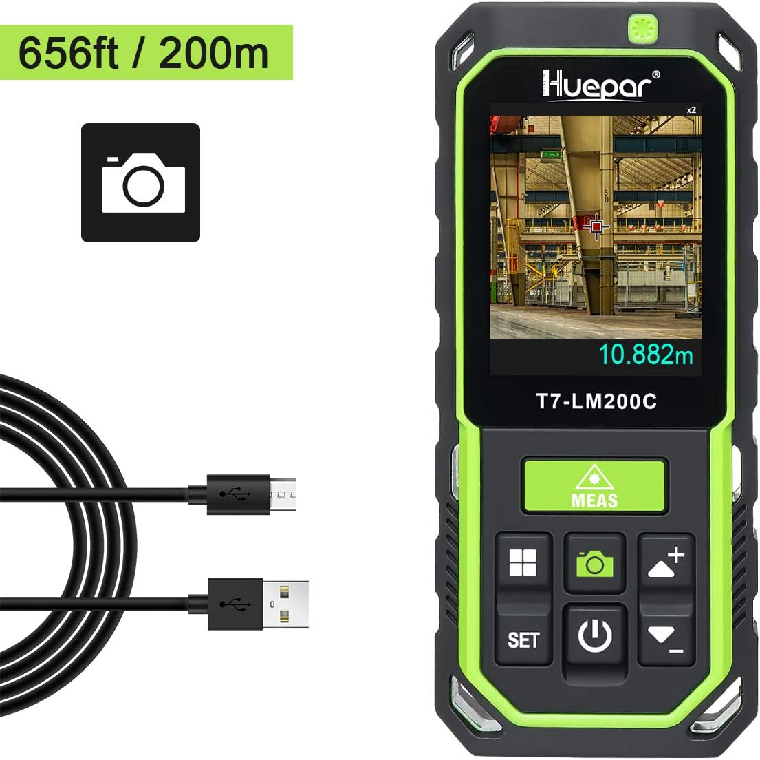 Huepar Medidor Laser con Cámara 2X/4X Zoom, Telémetro Láser 200M Recargable Alta Precisión M/In/Ft 17 Modos-Pitágoras, Estaquillado, Sensor de Inclinación, Pantalla Retroiluminada en Color-LM200C