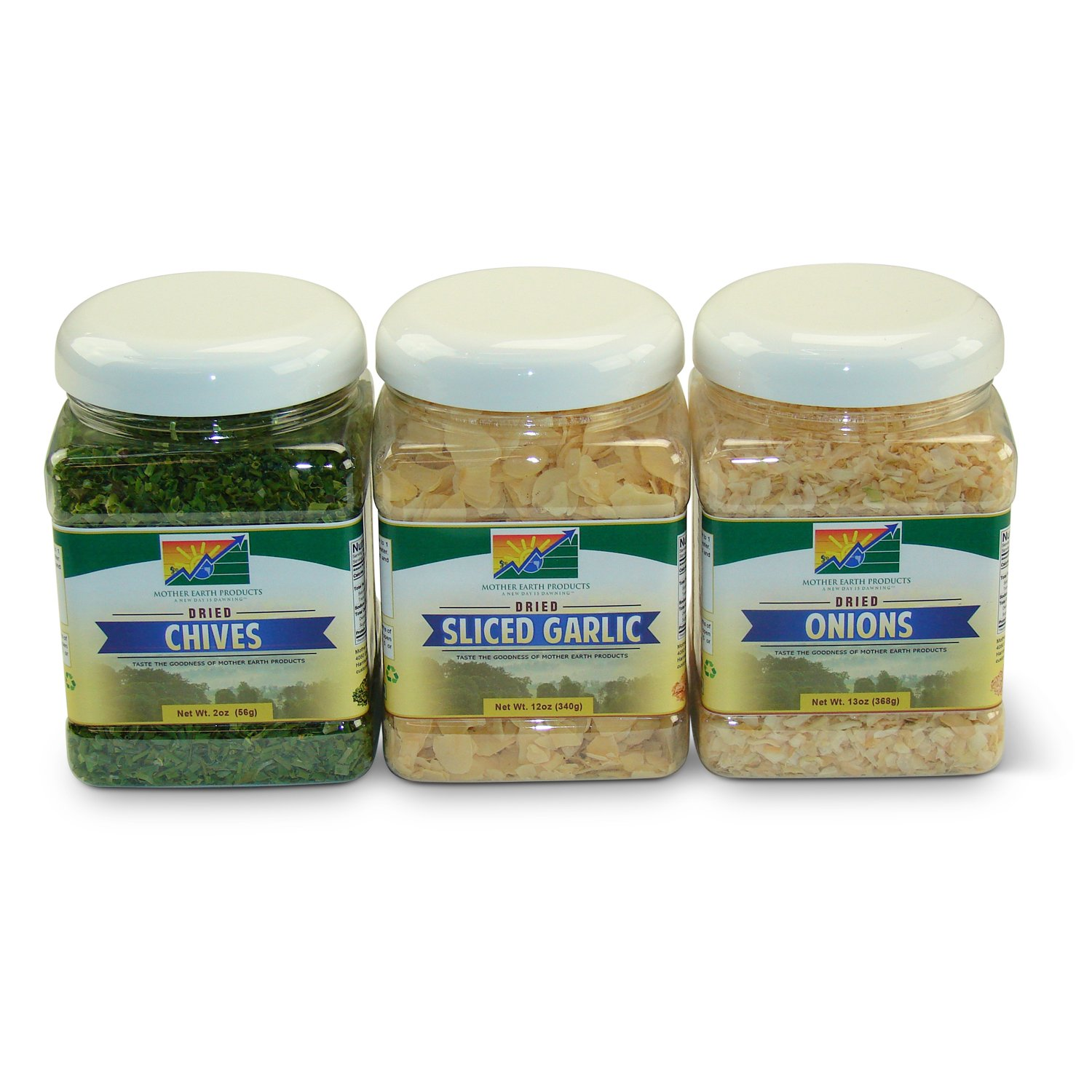 Mother Earth Products Dried Spice Value Medley: Dried Chives, Dried Onions, and Dried Sliced Garlic Quart Jars