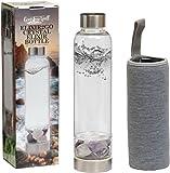 Gemstone Well Elixir2Go Crystal Elixir Bottle - 16oz Water Bottle for Making Crystal Infused Gemwater - Includes Gem Stones and Protective Neoprene Sleeve (Amethyst & Clear Quartz)