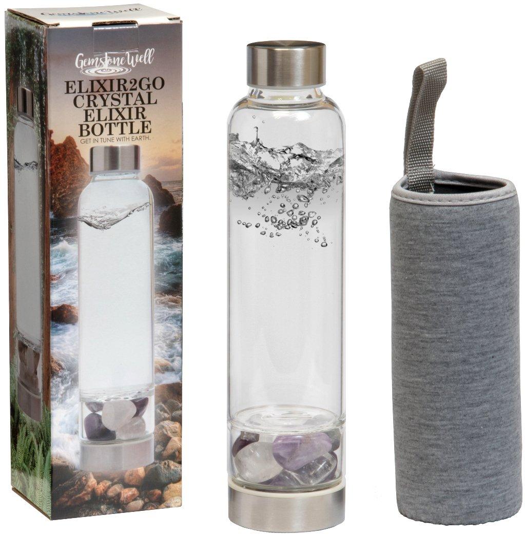 8fbf8d186a Elixir2Go Crystal Elixir Bottle – 16oz Gemstone Water Bottle for Making  Crystal Infused Gemwater – Includes Gem Stones and Protective Neoprene  Sleeve ...
