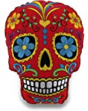 Red and Yellow Brightly Colored Embroidered Sugar Skull Accent Pillow