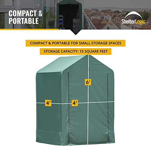ShelterLogic 4 x 4 x 6 Water-Resistant Pop-Up Deck and Garden Storage Shed Kit
