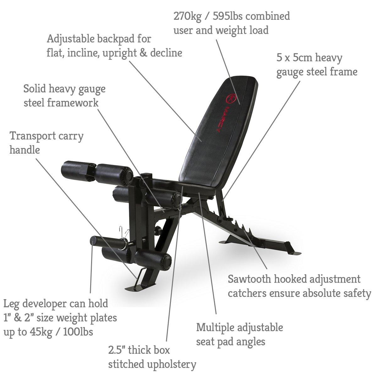 Marcy Eclipse UB9000 - Banco ajustable (270 kg), color negro/rojo: Amazon.es: Deportes y aire libre