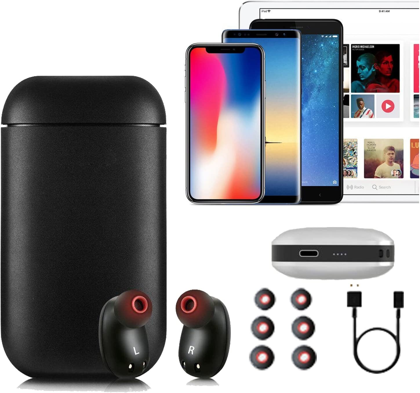 Wireless Earbuds, 2018 Upgraded Version Wireless Headphones Bluetooth Earbuds Sports Headphones with Mic and Charging Case Can Also be Used as Power Bank for iPhone and Android Smart Phones Black