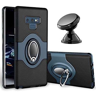 Samsung Galaxy Note 9 Case - eSamcore Ring Holder Kickstand Cases + Dashboard Magnetic Phone Car Mount [Navy Blue]