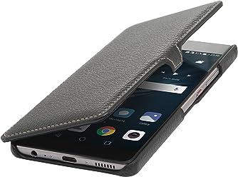 StilGut Book Type Case con Clip, Custodia a Libro Booklet in Vera Pelle per Huawei P9 Plus, Nero