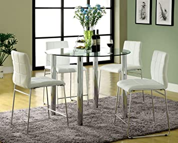5 pc kona ii glass counter height dining table set with white leather like vinyl