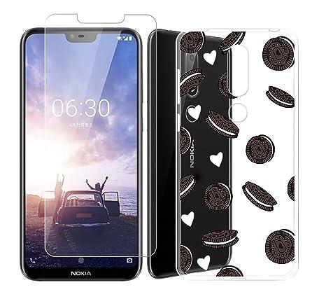 """0a94efe9cfc DYSu Funda para Nokia X6 2018 (5.8"""") Galletas sándwich Transparente  TPU+ (Vidrio"""