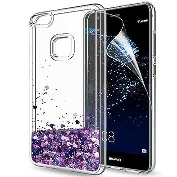 LeYi Funda Huawei P10 Lite Silicona Purpurina Carcasa con HD Protectores de Pantalla,Transparente Cristal Bumper Telefono Gel TPU Fundas Case Cover ...