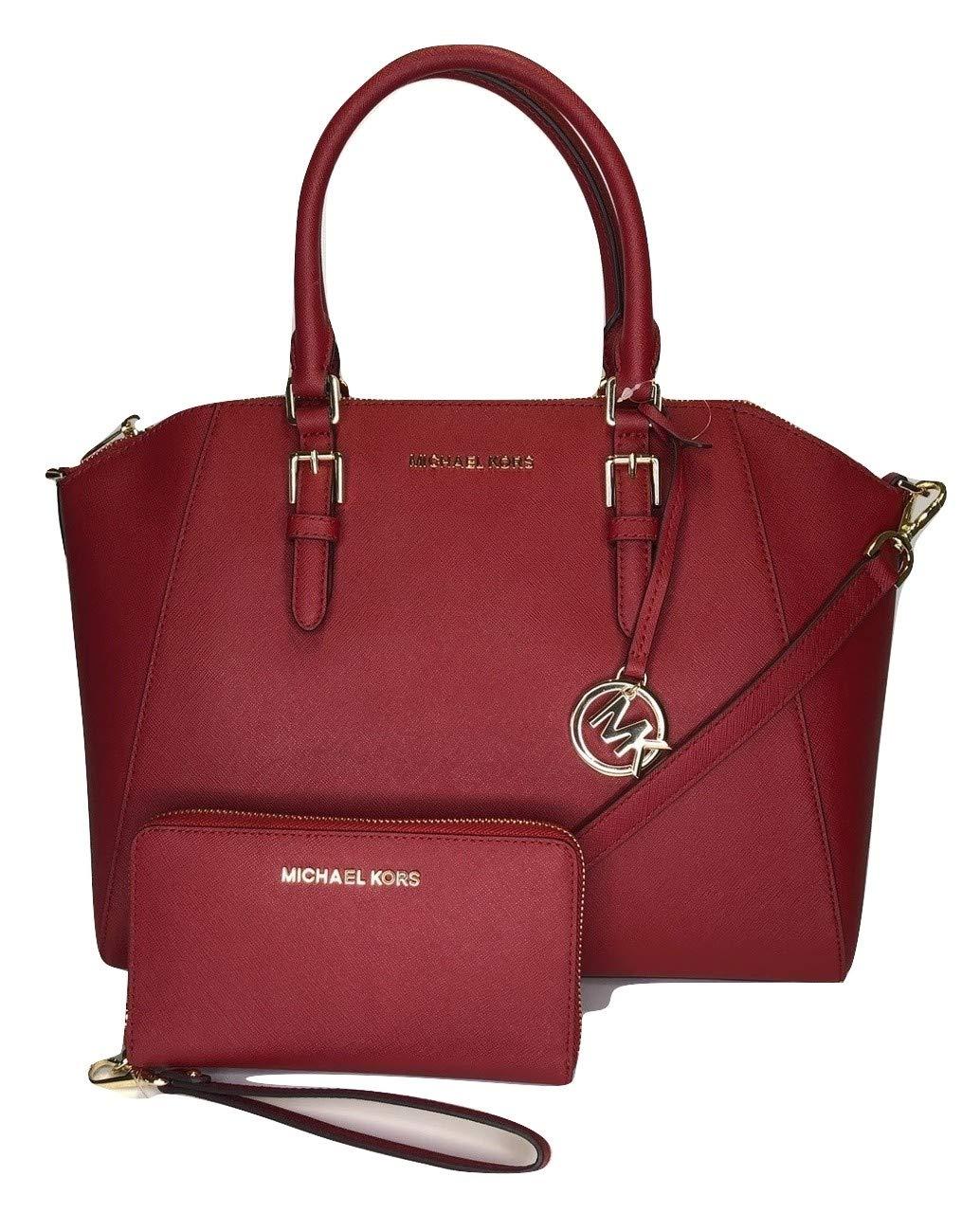 MICHAEL Michael Kors Ciara Large TZ Satchel bundled with Michael Kors Jet Set Travel Large Phone Wallet Wristlet (Scarlet)