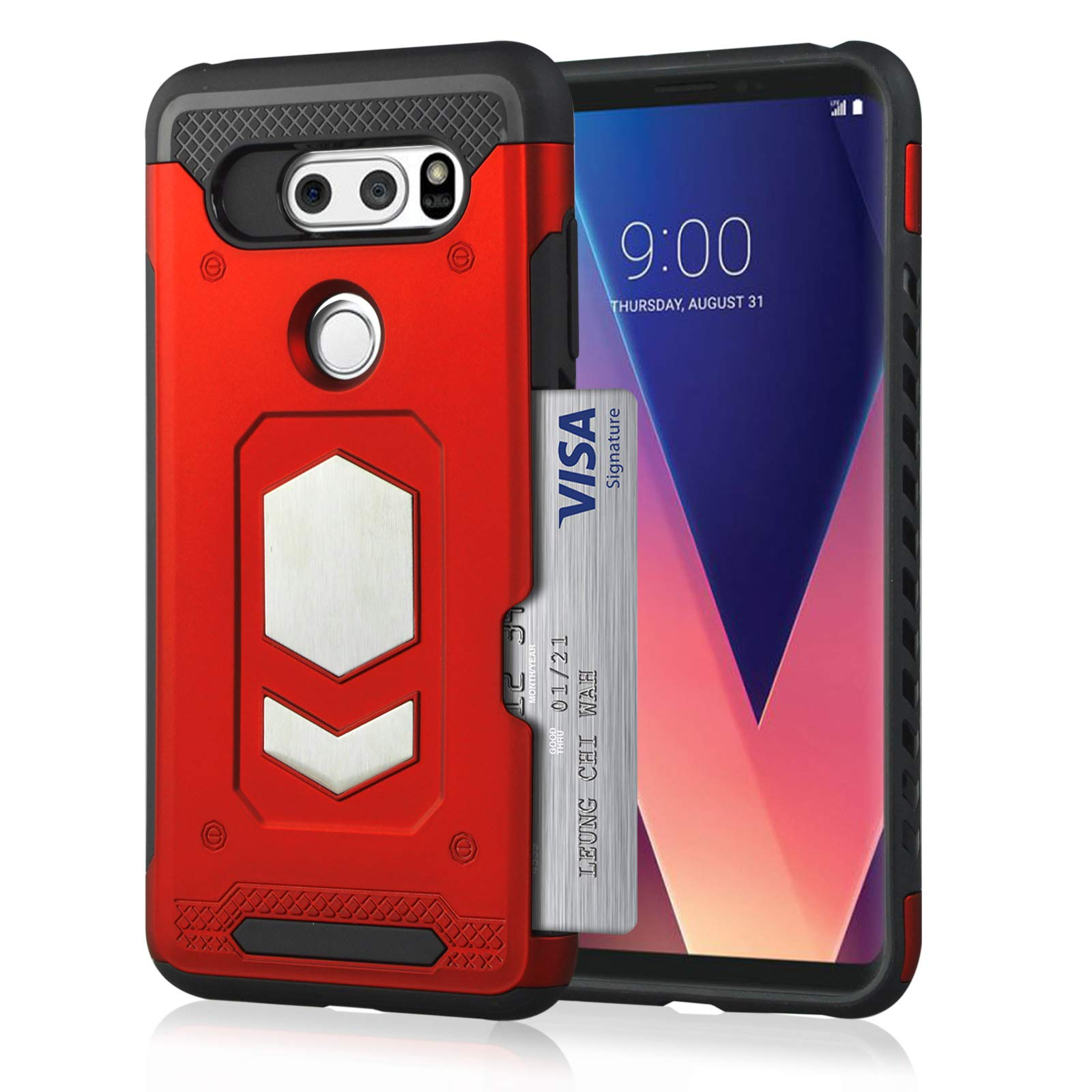 LG V30 Wallet Case, Slim Armor Shockproof Heavy Duty Protection Dual Layer TPU&PC Hybrid Case Cover with Card Slot Car Mount Holder Thin Case for LG V30 (2) by 22miter