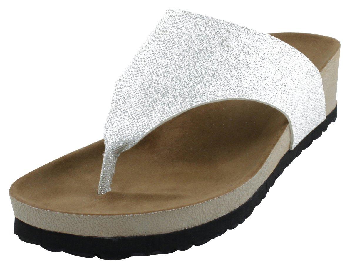 Cambridge Select Women's Flip-Flop Slip-On Thong Mid Wedge Heel Sandal B078SGYM3P 6 B(M) US|Silver