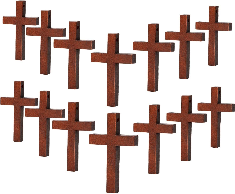 70 Piezas de Madera Colgantes Cruzados DIY Encantos Cruzados Artesanías Artesanales del Partido de Madera Natural DIY Proyectos de Joyería