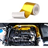 """Sporacingrts 2"""" x16.4'(5M) Gold Adhesive Backed Heat Barrier Tape,Glassfiber Heat Shield Reflective Tape Wrap Roll,for…"""
