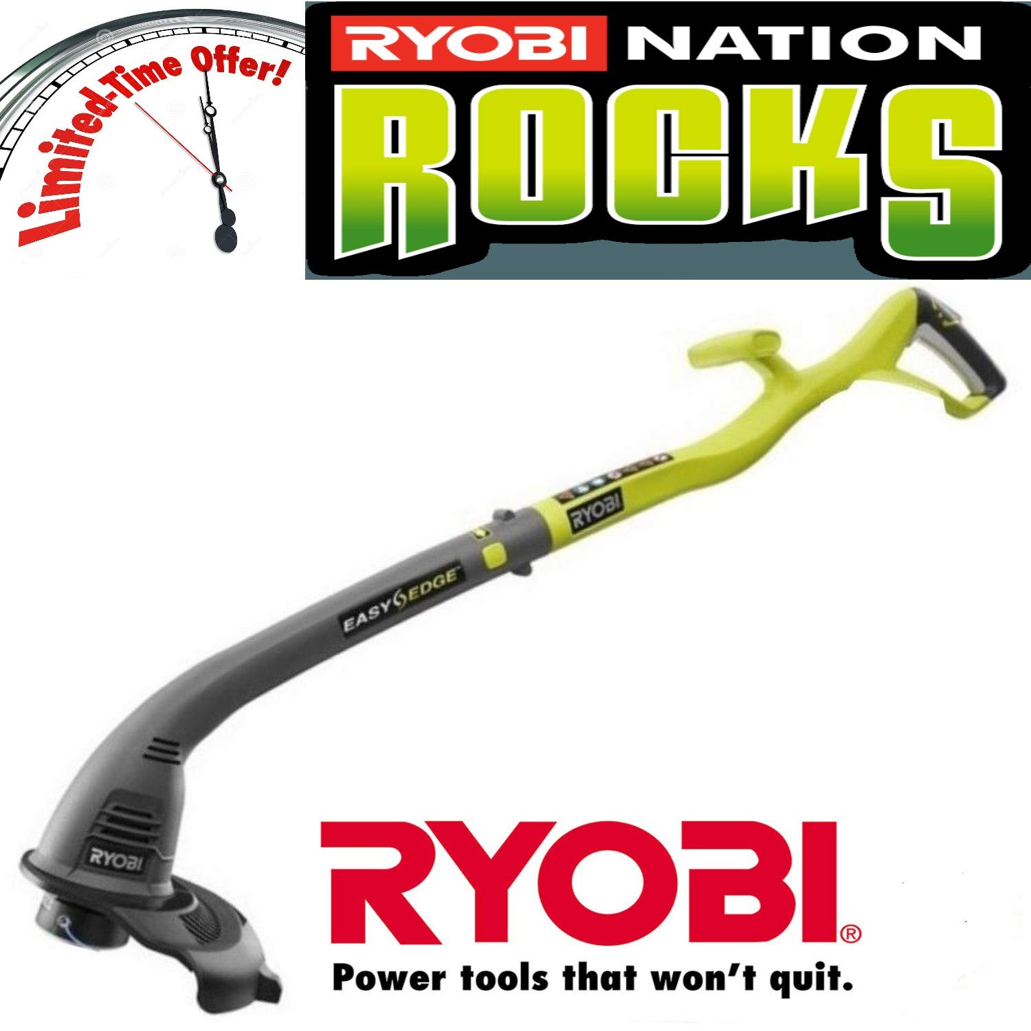 Ryobi ONE 18-Volt Lithium-Ion Electric Cordless String Trimmer and Edger RENEWED Trimmer Only