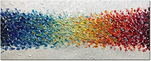 AMEI Art Paintings,24x60Inch 100 Hand Painted Colorful Abstract Oil Paintings Modern Oversized Stretched Framed Contemporary Canvas Artwork Textured Palette Knife Paintings