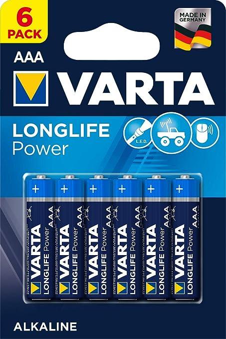 Pila VARTA Longlife Power AAA Micro LR03 (paquete de 6 unidades), pila alcalina: Amazon.es: Electrónica