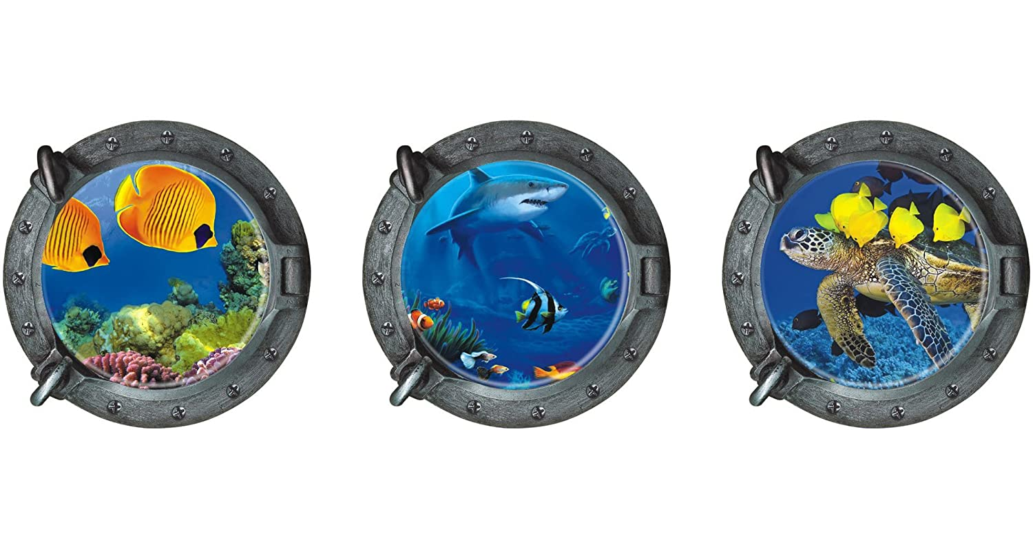 """DNVEN (13"""" w X 13"""" h X 3pcs Porthole Set of 3 3D Under The Sea Ocean Tropical Fishes Shark Sea Turtles Window View Faux Submarine Murals Wall Decals Stickers Removable for Bedrooms"""