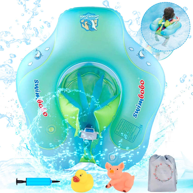 Luchild Flotador Ajustable Inflable de Bebe,Flotador de Natación para Bebés, Anillo de Natación Bebé de Piscina, Flotador con Bomba Manual y Juguetes flotantes (para ninos 6 a 30 Meses)