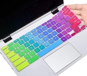 Colorful Keyboard Cover for Lenovo Chromebook C330 C340 2-in-1 11.6/2020 IdeaPad 3 11.6 Chromebook/Flex 5 13 Chromebook/Chromebook 100E 300E 500E N20 N21 N22 N23 11.6, Rainbow