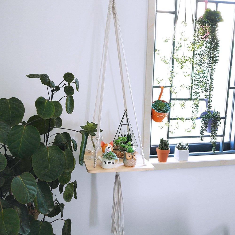 "Supla 2 Pcs Wood Hanging Swing Rope Floating Shelves Macrame Shelf Hanging Planter Hanging Wooden Shelves for Plants for wall 45"" Long and 2 Pcs Ceiling Screw Hooks Cup Hook Holder"