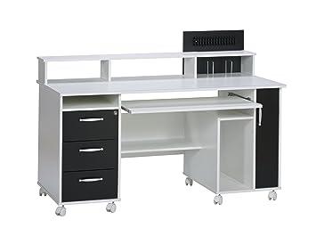 Maja möbel  bureau pour ordinateur blanc uni noir x