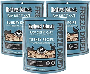 Northwest Naturals Pack of 3 Turkey Freeze Dried Raw Diet for Cats, 11 Ounces Per Pack