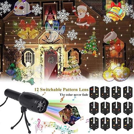 Laser Christmas Lights.Led Projector Lights B Bangcool Musical Laser Christmas Lights 2 In 1 Portable Decoration Light Night Light Projector With Tripod 12 Slides