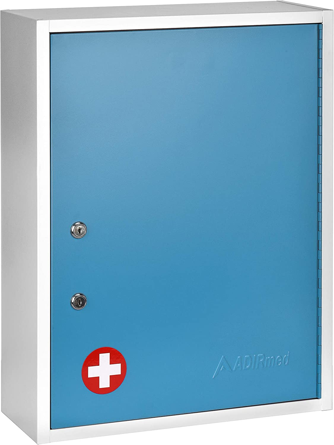 AdirMed Large Dual-Lock Medicine Cabinet – Wall Mounted & Secure Steel Medicine Pills & First Aid Kit & Emeergency Kit Box with Locks for Home Office & School Use (Blue)