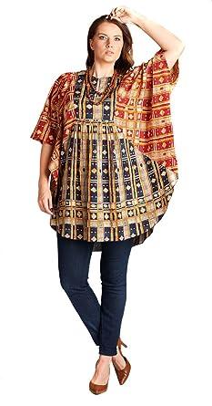09d152bdd VELEZRA Women s Boho Kaftan Bohemian Chic Half Sleeves Tunic Top Blouse at  Amazon Women s Clothing store
