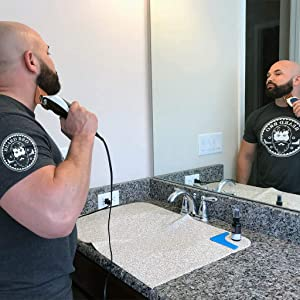 Groom Mat for Beard & Mustache Trimming by Beard Bro/Non Stick Surface, Easy to Clean, Used for Trimming & Applying Oils